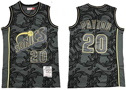 BXWA-Sports Camiseta de Baloncesto Masculino, Supersonics NBA # 20 Gary Payton Baloncesto Ropa cómoda/Malla/Enfriar Bordado Baloncesto Retro sin Mangas Jerseys,XL