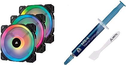 Corsair LL Series LL120 RGB 120mm Dual Light Loop RGB LED PWM Fan 3 Fan Pack with Lighting Node Pro & Arctic MX-4 - Therma...