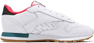 Reebok Womens Classic Leather Sneaker, Adult, White/Black/Neon Red/Mineral