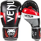 VENUM Elite Guantes de Boxeo, Unisex Adulto, Negro/Rojo/Gris, 8 oz