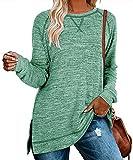 Aokosor Womens Sweatshirts to Wear with Leggings Side Split Tops Long Pullover Shirts Green XL