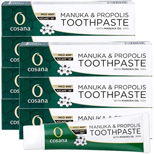 プロポリス入り マヌカハニー 歯磨き粉 100g 緑 マヌカオイル配合 MGO400+◆6本+1本セット