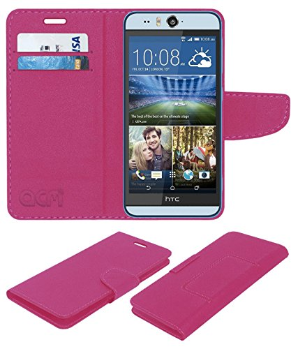 Acm Mobile Leather Flip Flap Wallet Case Compatible with HTC Desire Eye Mobile Cover Pink