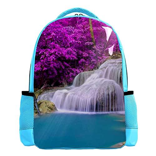 YATELI Mochila ligera para la escuela,Parrot Cascada tropical , Mochila informal clásica básica resistente al agua para viajes con bolsillos laterales para botellas