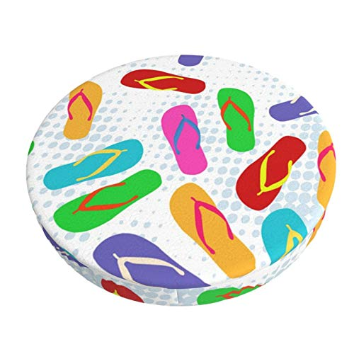 ABODS Colorful flip Flops Bar Stool Covers Round Cushion Chair Slipcover Washable for Home Hotel