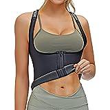 Waist Trainer Vest For Women Neoprene Sauna Sweat Workout Exercise Gym Tank Top Body Slim Stomach Tummy Shaper Trimmer Weight Loss Wrap Belt Zip Up Corset Suit Hot Band Zipper Strap (2XL)