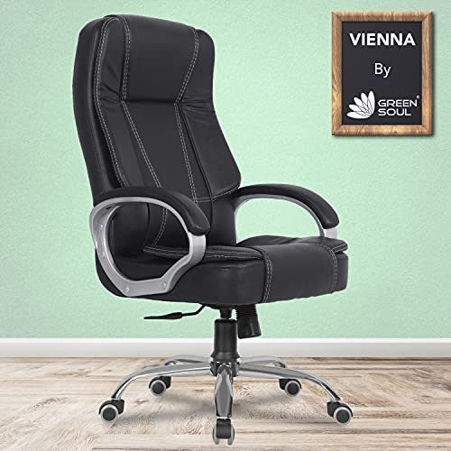 Green Soul Vienna High Back Leatherette Executive Office Ergonomic Chair with Multi Color Options (Epic Black)