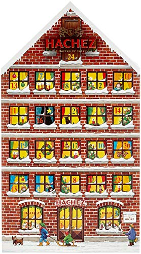 Hachez Adventskalender in Form eines Hauses mit Pralinen und Chocoladen gefüllt, 1er Pack (1 x 250 g)