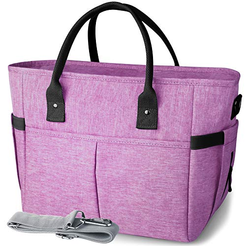 KIPBELIF Insulated Lunch Bags for Women - Large Tote Adult Lunch Box for Women with Shoulder Strap, Side Pockets and Water Bottle Holder, Purple, Normal Size
