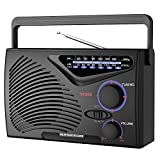 Fm Radio,Built-in 1200MA Rechargeable Battery or AC Power&DC-5V-USB Cable to Play,Portable 2 Band FM/AM Radio(no Bluetooth)