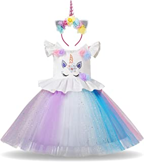 Baby Girls Flower Unicorn Fairy Costume Princess Rainbow Dress up Birthday Pageant Party Wedding Dance Outfits Short Gown