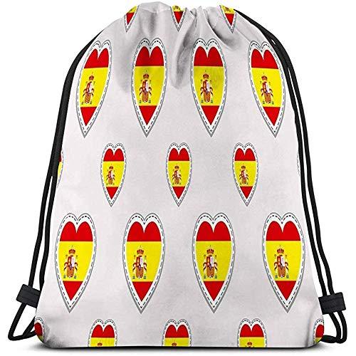 Bolso con cordón Bolsa de Almacenamiento Deportiva Bandera de España Banderas españolas Stikers Corazones de Amor Símbolos Idiomas Cursos Páginas Deportivas Viajes Encantador