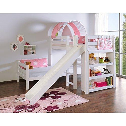 Relita Etagenbett BENI L mit Rutsche, Buche massiv, weiß lackiert, mit Tunnel und Tasche Princess