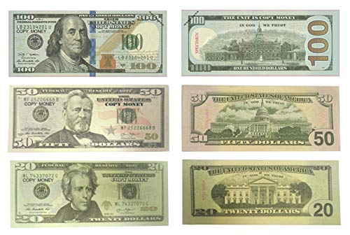 Lefree Fake Money Copy Money 20,50,100 Dollar Prop Money Realistic Double Sided Money Stack 120 Bills Full Print Fake Dollars