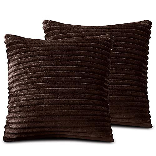 FARFALLAROSSA Fundas de cojín de microfibra con cremallera, color marrón oscuro (paquete de 2) 60 x 60 cm, fundas cuadradas para cojín de sofá, aptas para cualquier época del año, color liso
