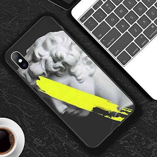 LIUYAWEI Funda para teléfono para iPhone 11 6 6s 7 8 Plus X XR 11Pro XS MAX 5 5s SE Estatua de Arte Abstracto TPU Suave para iPhone X XS Funda para teléfono, T4, para iPhone 11Pro