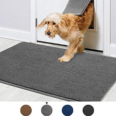 """Color&Geometry Indoor Doormat 24""""x36"""" Non Slip Backing Machine Washable Super Absorbent Inside Mats, Low-Profile Rug Doormats for Entryway,Front Door, Back Door Rug Grey"""