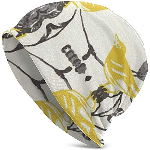 Skihelm geel grijs vintage floreale vogel modern Slouchy Ski Cap Ski Cap Snapback voor dames heren