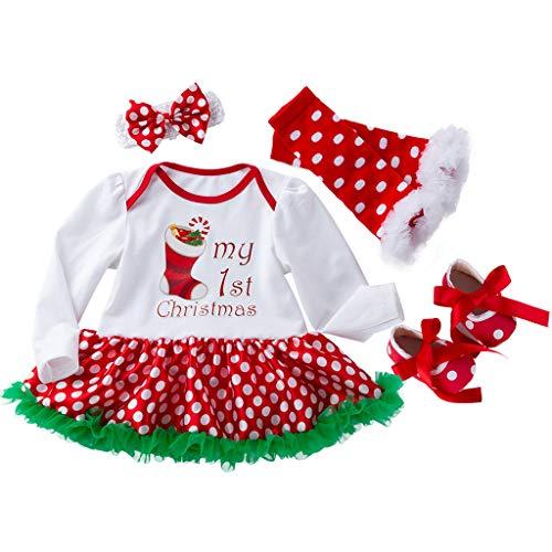 FRAUIT Natale 4 Pezzi Set Bambino Vestito Neonata Battesimo Invernale + Calze + Fascia per Capelli + Scarpe Scarpette Scarpine Neonato Invernali Vestiti Bambina Eleganti Cerimonia