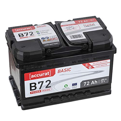 Accurat Autobatterie PowerCell 72Ah B72 Basic 12V 72Ah 650A Kaltstartkraft, Starterbatterie Blei-Säure Ca Technologie, hohe Startleistung wartungsfrei