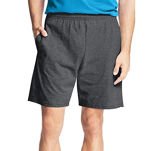 Hanes Men's Jersey Pocket Short Charcoal Heather
