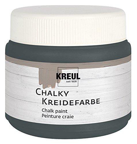 Kreul 75322 - Chalky Kreidefarbe, Volcanic grau in 150 ml Kunststoffdose, sanft - matte Farbe, cremig deckend, schnelltrocknend, für Effekte im Used Look