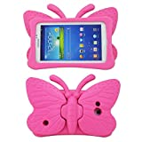 Tading Kids Case for Samsung Galaxy Tab 4/3/3 Lite 7.0 inch Tablet, Lightweight Shockproof EVA Foam Super Protection Stand Cover for SM T230 P3200 T110 (Not Fit Samsung Galaxy Tab 3/4 10.1') Hot Pink