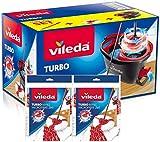 Vileda Turbo - Juego de fregona con Palo telescópico + Recambio de Microfibras y Poliamida