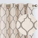 jinchan Linen Textured Moroccan Tile Drapes Printed Curtain Panels Bedroom Living Room Lattice Window Treatment 2 Panel Drapes 54 inches Long Grey