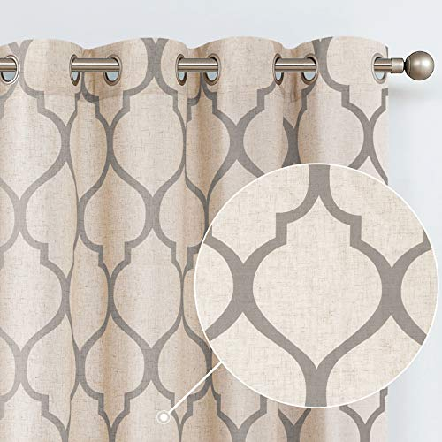 jinchan Printed Curtain Moroccan Tile Linen Textured Curtains Panels Bedroom Living Room Lattice Window Treatment 2 Panel Drapes 63 inches Long Grey