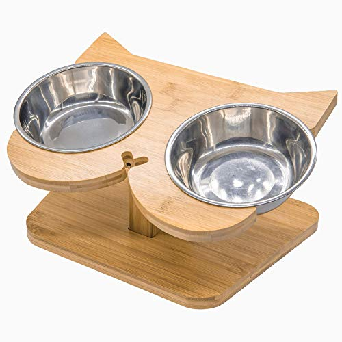 NibbleyPets Elevated Cat Bowl Stand with Stainless-Steel Food and Water Bowls (3 Pc. Set) | Stand-Up Eating and Drinking | Pet Friendly Ergonomic Design | Perfect for