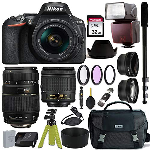 Nikon D5600 DSLR Camera with AF-P DX NIKKOR 18-55mm f/3.5-5.6G VR and Tamron AF 70-300mm f/4-5.6 Di LD Macro Lens for Nikon DSLR + Nikon Gadget Bag & Accessory Bundle