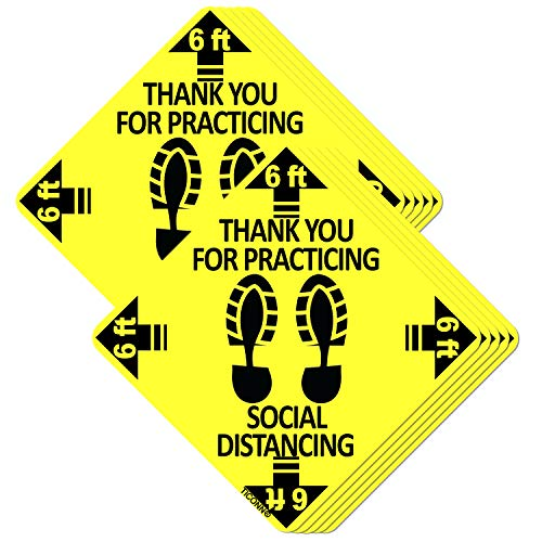 TICONN (10-Pack) 12' Square Social Distancing Floor Decals, Safety Floor Sign Marker - Maintain 6 Feet Distance, Anti-Slip, Commercial Grade