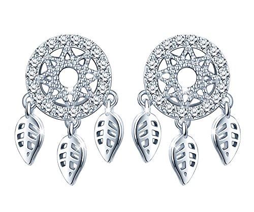 Infinite U Womens Dreamcatcher Studs 925 Sterling Silver Cubic Zirconia Stud Earrings