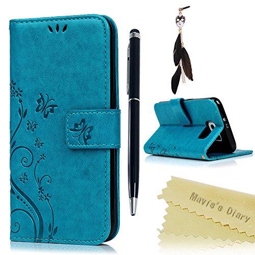 Funda Libro para Samsung Galaxy S6 de Cuero Impresión Con Tapa y Cartera,Correa de mano - Mavis's Diary Carcasa PU Leather Con TPU Silicona Case Interna Suave,Soporte Plegable,Ranuras para Tarjetas y Billetera,Cierre Magnético - Funda Hecho para Samsung Galaxy S6