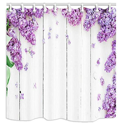 Frühlingsblume Badezimmer Duschvorhänge, lila Flieder & Blütenblätter auf weißen Holzplanken Badezimmervorhang Wasserdichter Polyester Stoff Mehltau Widerstandsvorhänge Badezimmerzubehör