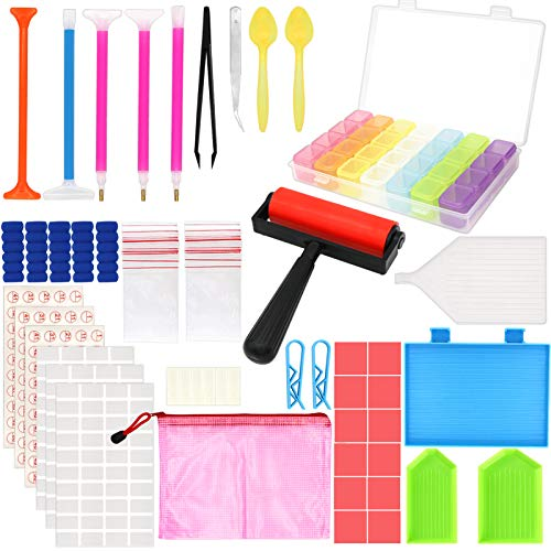 60 Pieces 5D Diamond Painting Tools, PETUOL DIY Painting Accessories Diamond Cross Sticky Clay for Valentine Day Craft, Tray Kits and Fix Tool Diamond Painting Roller Embroidery Box for Adults or Kids