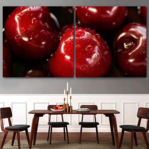 """bestdeal depot Fruits 2 Panel Canvas Wall Art Prints for Living Room,Bedroom Ready to Hang - 16""""x16"""" x 2 Panels"""
