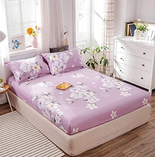 XLMHZP sábanas de poliéster a Rayas Funda de colchón sábana de Color sólido sábana Ajustable Colcha Doble tamaño Queen King Size,Apartamentos de Dormitorio para y niñas-80X200cmX25(1pcs) 3