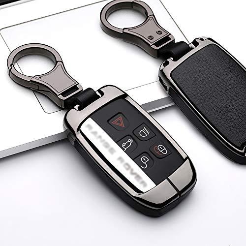 ontto - Funda Protectora para Llave de Coche Land Rover Range Rover Sport Evoque 4 Discovery Sport 2 Jaguar con Llavero, Cuero, Negro