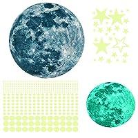 ZYCC天井のダークスター発光ステッカー、発光星と月を含む435pcs粘着性壁ステッカー、天井と壁のデカール付きの3D発光星、子供の寝室と子供の誕生日プレゼントに非常に適しています