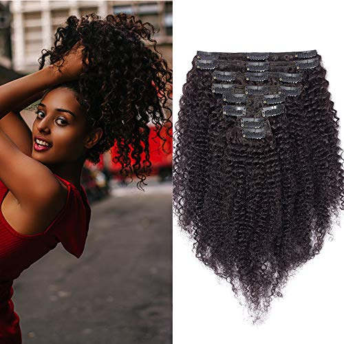 Silk-co Extension Cheveux Humain Naturel Extension Bresilien A Clip [8 Piece 18 Clips] Afro Kinky Curly Clip in Hair Extension - 26\