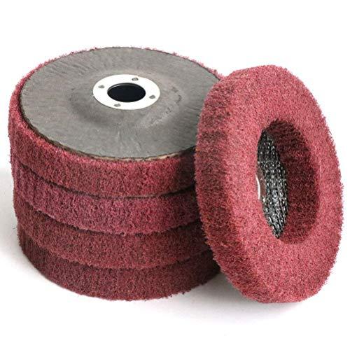 Rfvtgb 5Pcs 4 Inch Nylon Fiber Flap Disc Polishing Grinding Wheel,Scouring Pad Buffing Wheel for Angle Grinder
