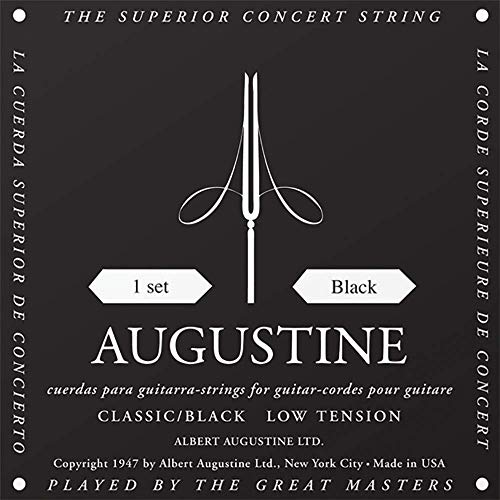 Augustine Klassik Gitarrensaiten Black Label Satz Regular Tension/Bassaiten Light Tension