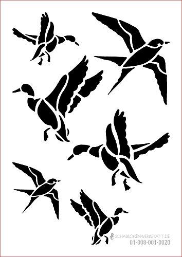 Schablone Vögel, 01-008-001-0020, Ente, Schwalbe im Flug als Fensterschablone, Dekoschablone, Schablonengröße A3