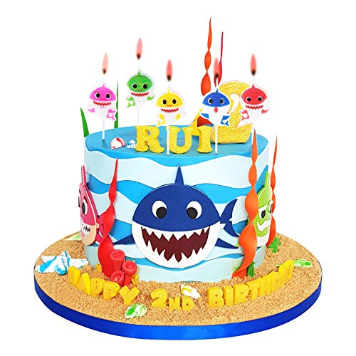 Cute Ibaby Shark Birthday Candles – Ibaby Shark Party Supplies, Cute Ibaby Shark Cake Decorations for Kids, Perfect for Birthday Party, Children Carnival Party and Ibaby Shower - Set of 5