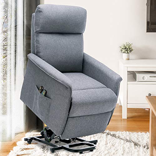ERGOREAL Power Lift Chair Recliners for Elderly Heat&Massage Electric Recliner Lift for Seniors, Small Lift Recliner Linen Fabric with Remote Control, Motorized Single Sofa-Grey