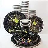 MAGRF 24pcs Set di stoviglie USA e Geta di Zucca di Piatti Bicchieri Di Carta Tovaglioli Cartone Festa Forniture per Compleanno D