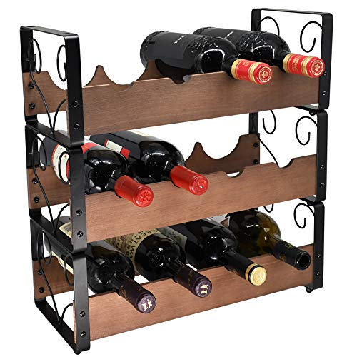 YuQi 3-Tier Stackable Wine Racks countertop,Classic Style Wine Bottles Organizer Holder Stand,with Scallop/Wave Shaped Shelves Design,Made of Wood and Metal- Holds 12 Bottles,Brown