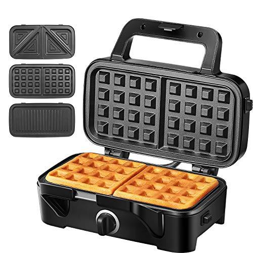 Sandwichmaker Waffeleisen Sandwichtoaster 3 in 1, 1200W Temperaturregelung mit 3 Abnehmbare Platten für Toast Waffeln Fleisch, Antihaftbeschichtung mit LED-Anzeigeleuchten, Cool Touch-Griff, Schwarz